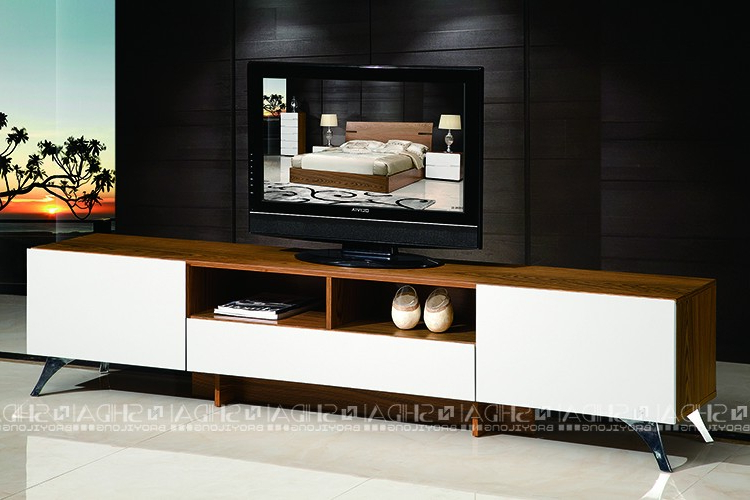 Well Known White And Wood Tv Stands Within Simple Tv Stand Pertaining To Wood Cabinet High Gloss White Designs (View 8 of 20)