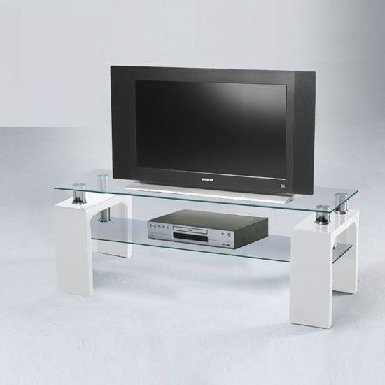 Well Known White Glass Tv Stands Pertaining To Lucky Glass Tv Stand With High Gloss Legs In White (View 10 of 20)