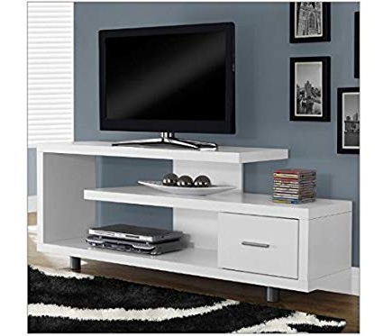 Well Known White Modern Tv Stands In Amazon: Skb Family White Modern Tv Stand – Fits Up To 60 Inch (View 16 of 20)