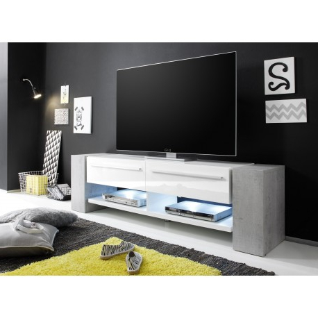 Well Known White Tv Stands Within Time – White Tv Stand With Stone Imitation Legs – Tv Stands ( (View 17 of 20)