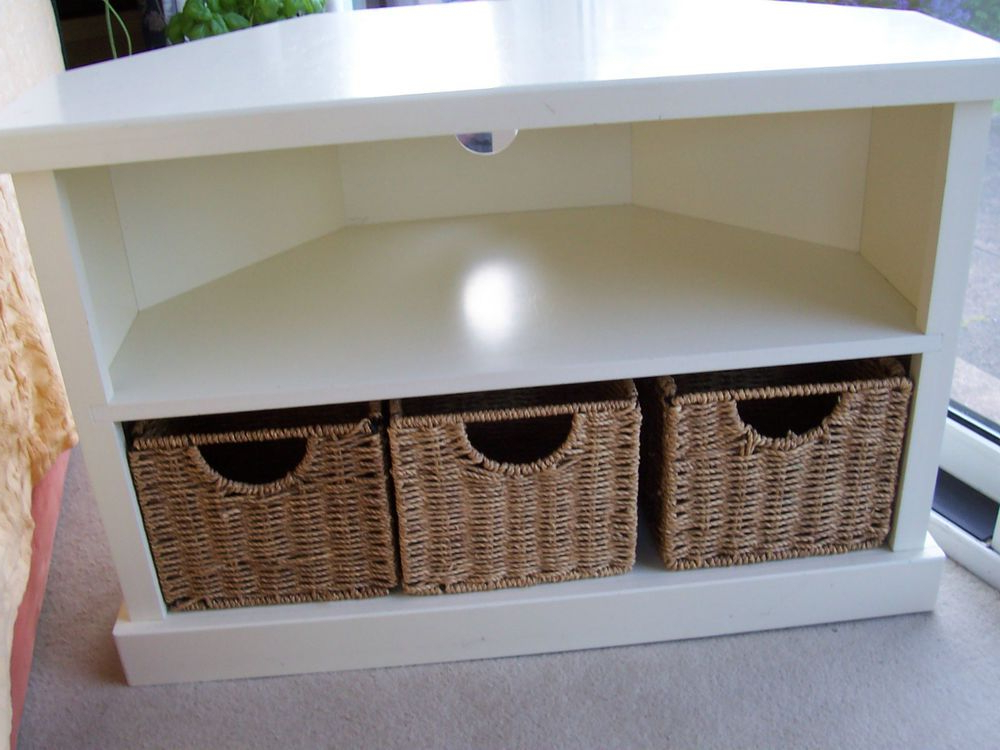 Well Known Wooden Corner Tv Units With Solid Wooden Corner Tv Stand Unit In White With 3 Baskets (View 18 of 20)