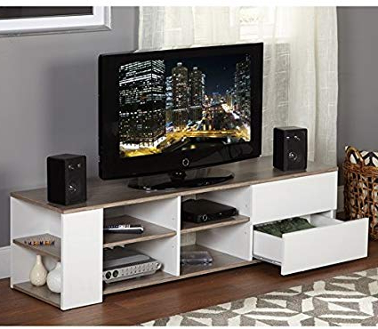 Well Known Wooden Tv Stands For Flat Screens In Amazon: Modern Tv Stands For Flat Screens White Entertainment (View 14 of 20)