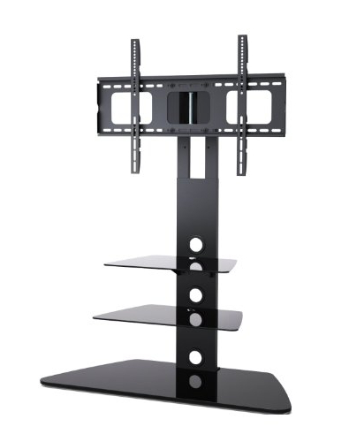 Well Liked 1home Cantilever Glass Tv Stand With Swivel Bracket For 30 To 55 Regarding Cantilever Glass Tv Stands (View 8 of 20)