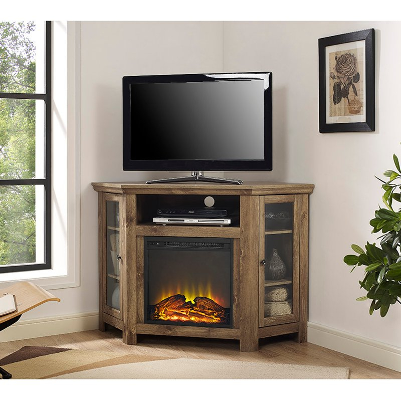 Well Liked 48 Inch Rustic Barn Wood Corner Tv Stand With Fireplace (View 12 of 20)