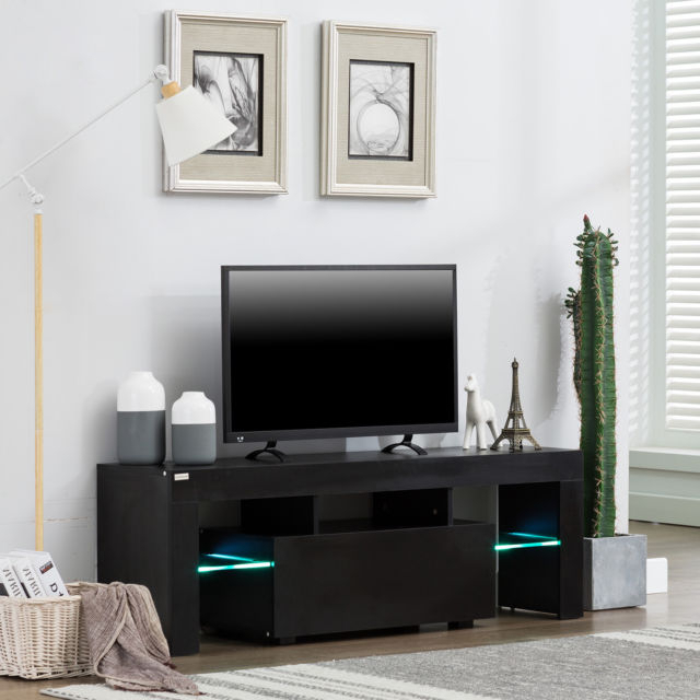"Well Liked 51"" Tv Stand Cabinet Entertainment Center Rgb Led Lights Media Pertaining To Tv Stands With Led Lights (View 20 of 20)"
