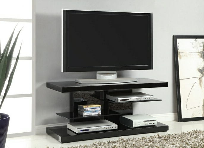 Well Liked 700840 Glossy Black Finish Wood Contemporary Style Tv Stand With Regarding Open Shelf Tv Stands (View 16 of 20)