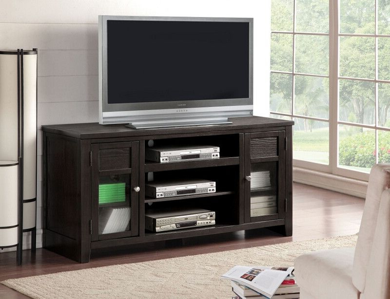 Well Liked Acme 91352 Josselin Espresso Finish Wood Tall Tv Stand Cabinet Pertaining To Glass Front Tv Stands (View 2 of 20)