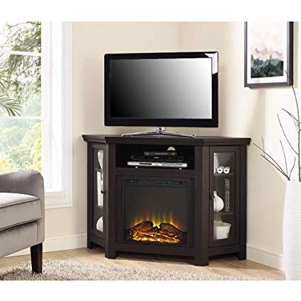 Well Liked Amazon: New 4 Foot Wide Fireplace Tv Stand – Dark Brown Finish With Dark Brown Corner Tv Stands (View 18 of 20)