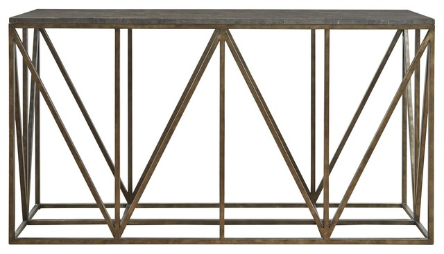 Well Liked Bluestone Console Tables Throughout French Industrial Bronze Metal Bluestone Console Table – Industrial (Gallery 10 of 20)