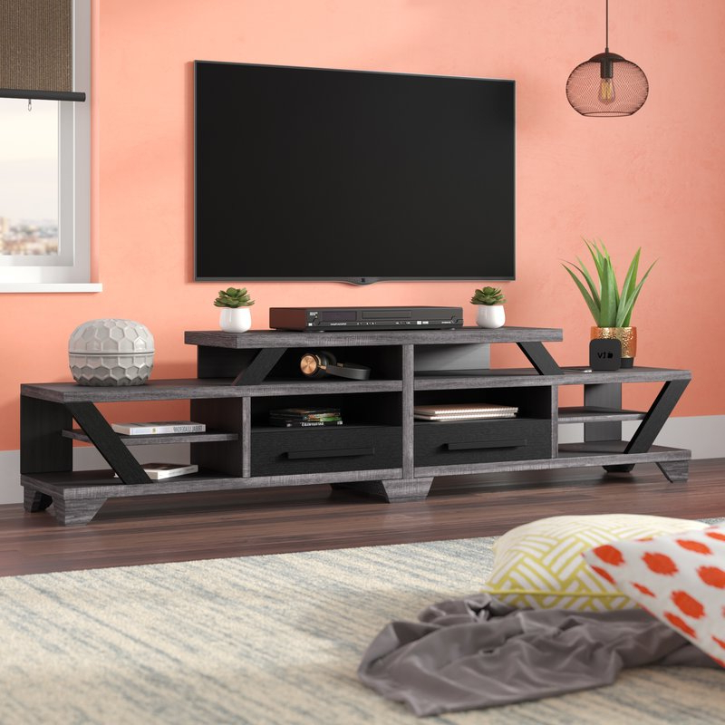 Well Liked Brayden Studio Brosnan Contemporary Tv Stand For Tvs Up To 80 With Contemporary Tv Cabinets For Flat Screens (View 19 of 20)