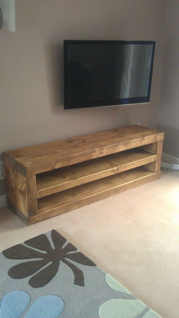 Well Liked Chunky Solid Wood Tv Unit Handmade. Caveman Furniture (Gallery 1 of 20)