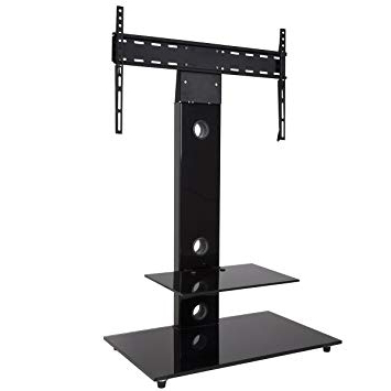 Well Liked King Cantilever Tv Stand With Bracket Black Square 70Cm: Amazon.co Throughout Tv Stand Cantilever (Gallery 6 of 20)