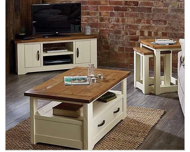 Well Liked Loxley Furniture Range Cream And Wooden Corner Tv Unit And Nest Of Throughout Cream Corner Tv Stands (View 19 of 20)