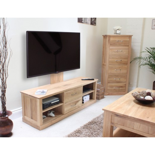 Well Liked Mobel Oak Flat Screen Tv Stand With Mount Intended For Wooden Tv Stands For Flat Screens (View 15 of 20)