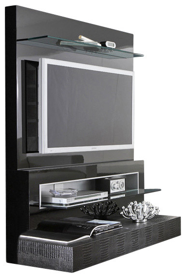 Well Liked Modern Tv Stands For Flat Screens Intended For Rossetto Diamond Flat Screen Tv Stand, Black Lacquer – Contemporary (View 2 of 20)