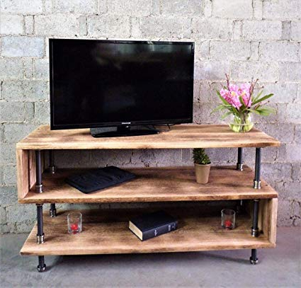 Well Liked Reclaimed Wood And Metal Tv Stands Intended For Amazon: Furniture Pipeline Tv Stand Entertainment Unit, Living (View 5 of 20)