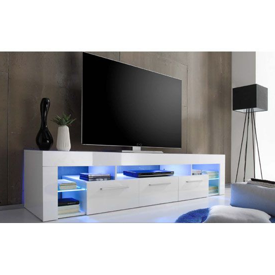 Well Liked Sorrento Large Tv Stand In White High Gloss With Blue Led Light With Regard To Dixon White 65 Inch Tv Stands (View 20 of 20)
