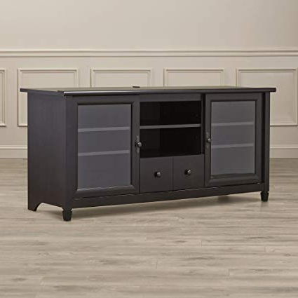 Well Liked Tv Cabinets With Glass Doors Within Amazon: Estate Black Tv Stand – Contemporary Entertainment (Gallery 17 of 20)