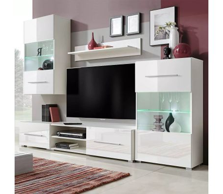Well Liked Tv Display Cabinets With Vidaxl Five Piece Wall Display Cabinet Tv Unit Chest With Led (Gallery 13 of 20)