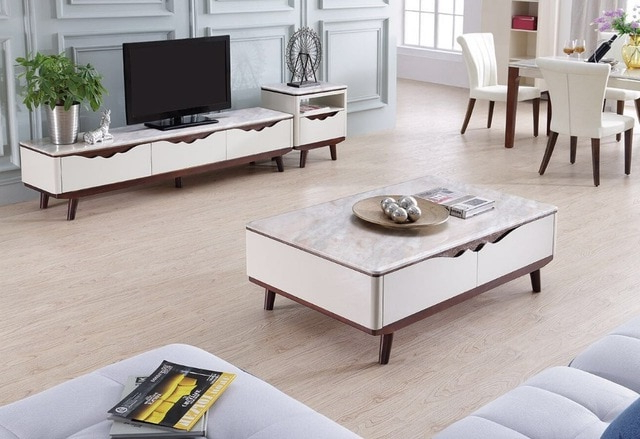 Well Liked Tv Stand Coffee Table Sets With Lizz Contemporary White Living Room Furniture Tv Stand And Coffee (Gallery 16 of 20)