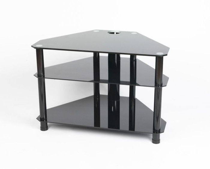 "Well Liked Tv Stands For Tube Tvs In Iconic All Black Glass Tv Stand – Up To 42"" – Gamba Blk (View 19 of 20)"