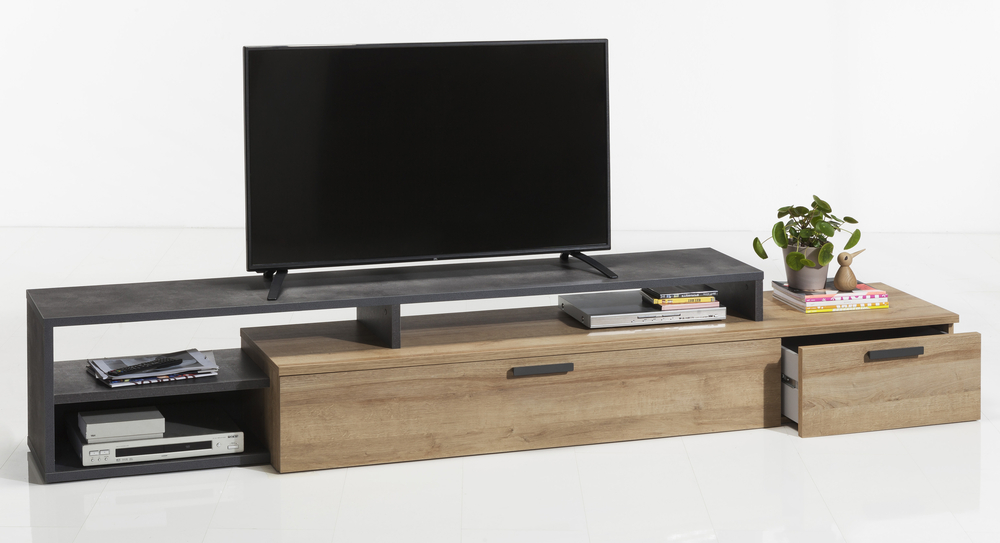 Well Liked Varese Long Tv Stand – Light Oak And Anthracite Grey Finish (View 12 of 20)