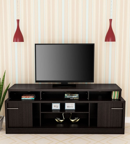 Wenge Tv Cabinets In Well Known Buy Magna Tv Unit With Sliding Doors In Wenge Finishroyal Oak (View 14 of 20)
