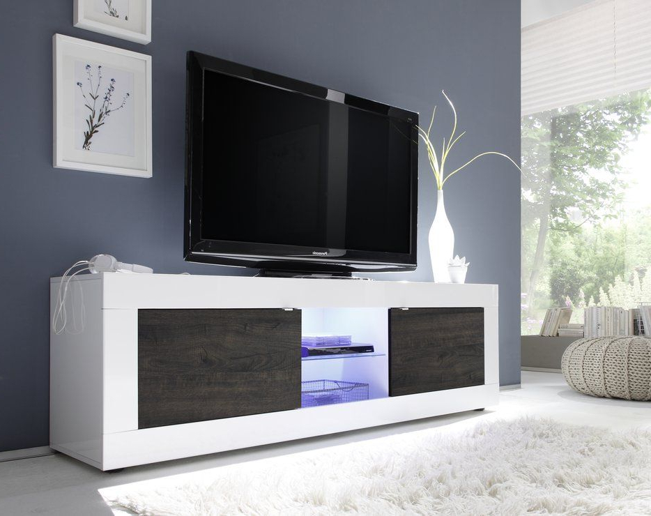 Wenge Tv Cabinets Regarding Well Known Urbino Collection Big Tv Unit With Led Spotlight – Gloss White (View 18 of 20)