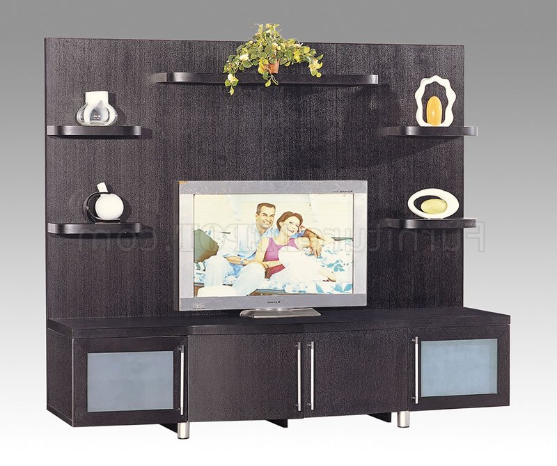 Wenge Tv Cabinets With Regard To Widely Used Wenge Finish Contemporary Tv Stand With Cabinets & Shelves (View 19 of 20)