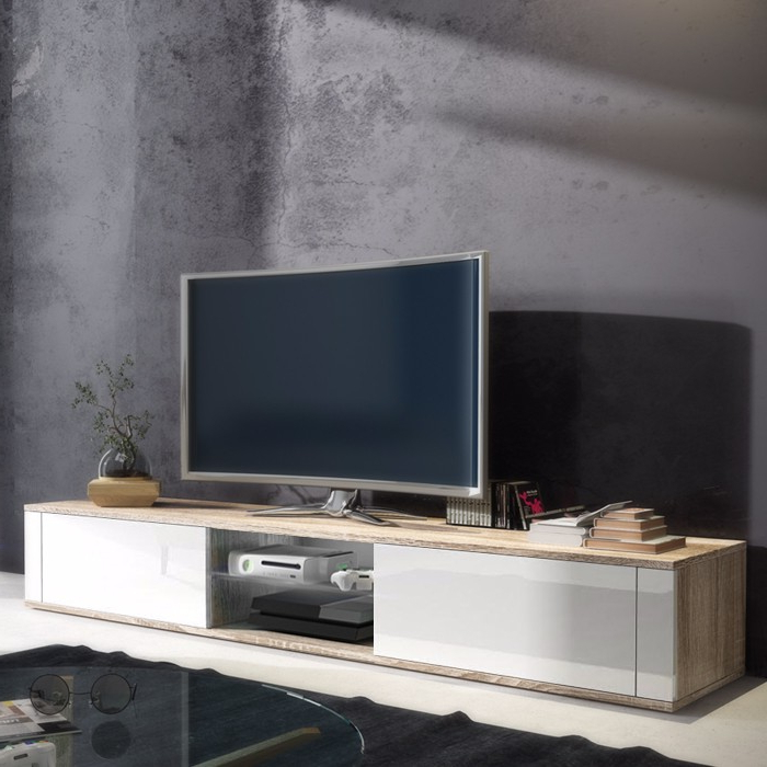 White And Wood Tv Stands Within Most Current Graham White Gloss And Oak Tv Stand 140cm (View 20 of 20)