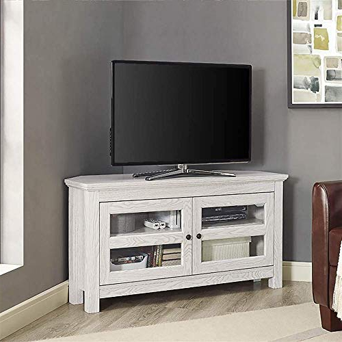 White Corner Tv Cabinets In Most Current White Corner Tv Stand: Amazon (View 15 of 20)