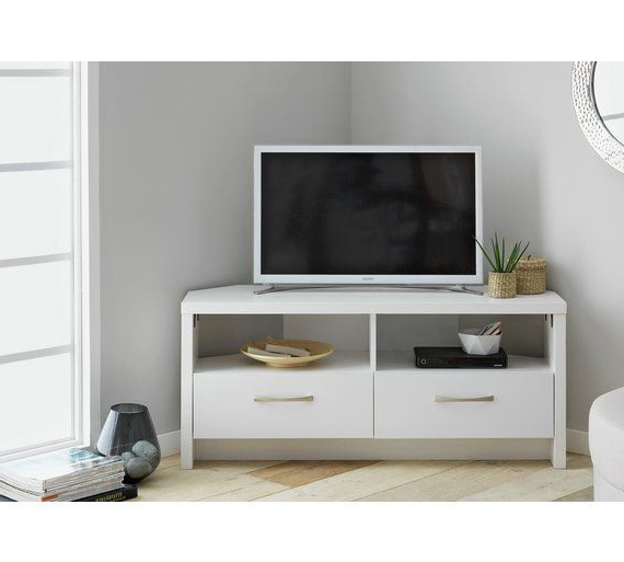 White Corner Tv Cabinets Intended For Most Up To Date Buy Collection Venice 2 Drawer Large Corner Tv Unit – White At Argos (View 16 of 20)