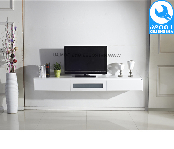 White Expressia Wall Mounted Tv Cabinet Within Preferred On The Wall Tv Units (View 17 of 20)