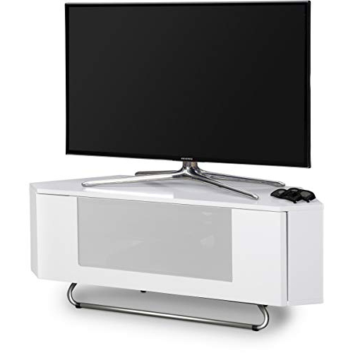 White Gloss Corner Tv Stands Intended For Popular White Corner Tv Stand: Amazon.co.uk (Gallery 8 of 20)