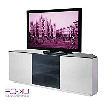 White Gloss Corner Tv Stands Regarding Most Recent Uk Cf Milan White Gloss & Black Glass Corner Tv Stand: Amazon.co.uk (Gallery 1 of 20)