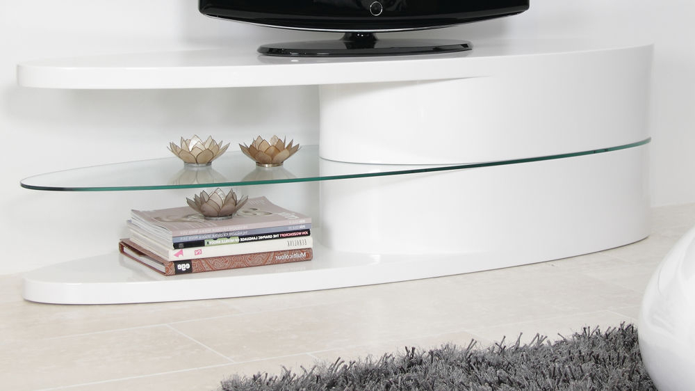 White Gloss Oval Tv Stand (Gallery 2 of 20)