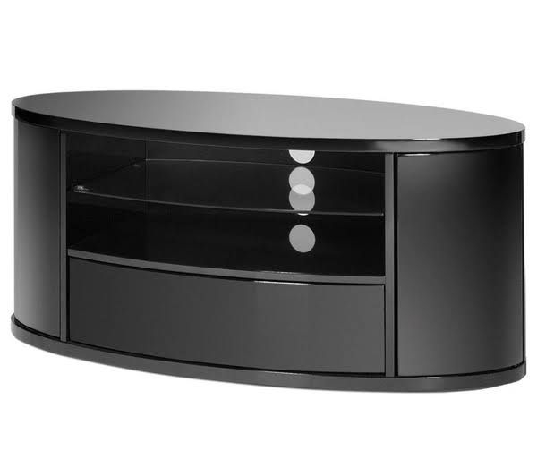 White Gloss Oval Tv Stands Throughout Most Up To Date Techlink Ellipse High Gloss Black Oval Tv Stand El (View 15 of 20)