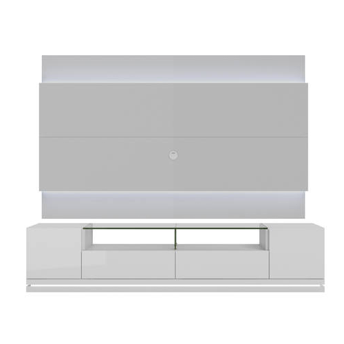 White Gloss Tv Benches For Famous Vanderbilt White Gloss Tv Stand & 2.2 Floating Wall Tv Panel W/led (Gallery 14 of 20)