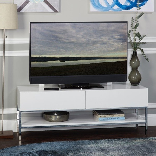 White Gloss Tv Benches Throughout Most Current Shop Simple Living Lewis White High Gloss Tv Stand – Free Shipping (View 19 of 20)