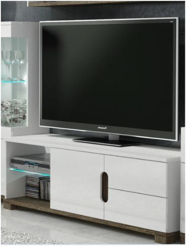 White Gloss Tv Display Unit With Lights – Tv Cabinets – Best Deal In Trendy High Gloss White Tv Cabinets (View 10 of 20)
