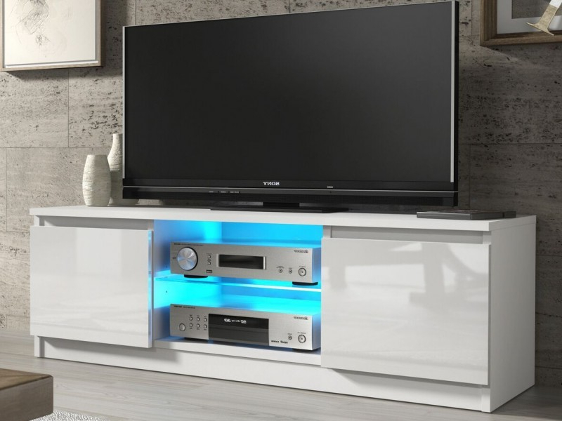 White Gloss Tv Unit Cabinet With Glass Shelf And Led Light 120Cm With Regard To Best And Newest High Gloss Tv Benches (View 19 of 20)