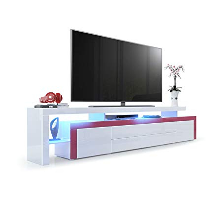 White High Gloss Tv Unit With Most Current Tv Stand Unit Leon V3, Carcass And Raised Stand In White High Gloss (View 11 of 20)