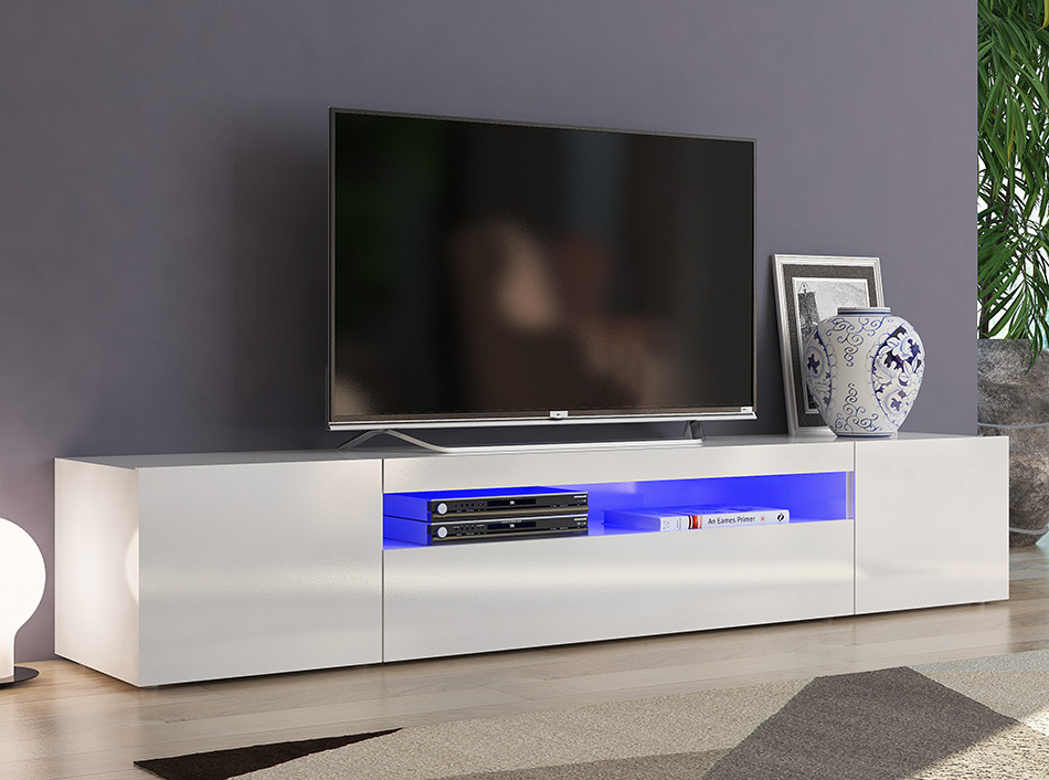 White Modern Tv Stands Intended For 2017 Modern Tv Stand Duri 79 White, Italy (View 19 of 20)