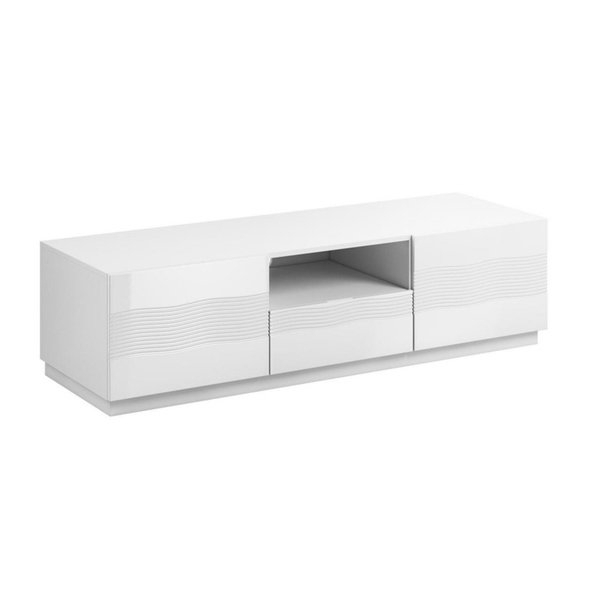 White Modern Tv Stands Throughout Current Shop Alabaster White Modern Tv Stand With Storage – On Sale – Free (View 8 of 20)