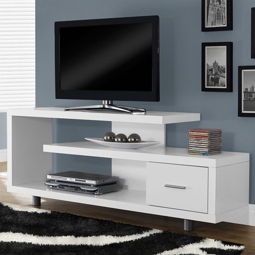White Tv Stands For Flat Screens Intended For Most Recently Released White Modern Tv Stand – Fits Up To 60 Inch Flat Screen Tv (View 15 of 20)