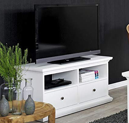 White Tv Stands For Flat Screens Throughout Fashionable Amazon: White Tv Stand With Drawers, Flat Screen Tv Stand Modern (Gallery 10 of 20)