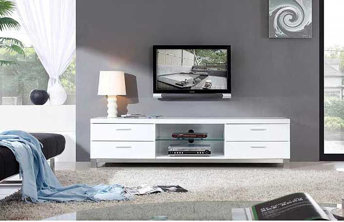 White Tv Stands, Modern With Regard To Best And Newest White Tv Stands For Flat Screens (Gallery 16 of 20)