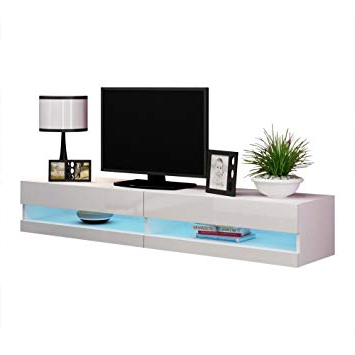 White Wall Mounted Tv Stands Pertaining To 2018 Amazon: Meble Furniture & Rugs Vigo New 180 Led Wall Mounted  (View 18 of 20)