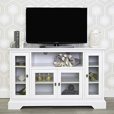 "White Wood Tv Stands Regarding Well Liked Amazon: We Furniture 52"" Highboy Style Wood Tv Stand Console (View 17 of 20)"