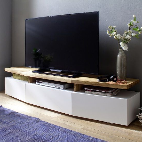 White Wood Tv Stands With Regard To Most Popular Alexia Wooden Tv Stand In Knotty Oak And Matt White In (View 19 of 20)